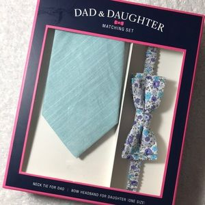 NWT Dad&Daughter Tie & Bow Headband Oxford Floral